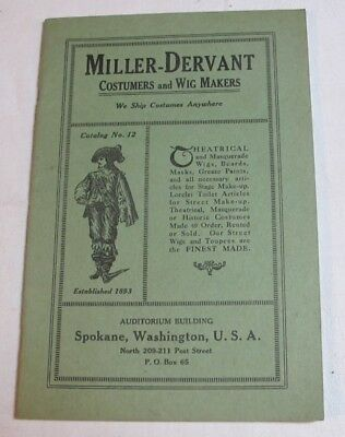 C. 1910 Miller-Dervant Spokane Washington Costumers Wig Makers Catalog Costume