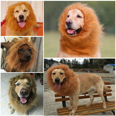 Large Pet Dog Lion Mane Wig Hair Halloween Costume Fancy Dress Party Cloth