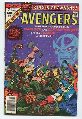 AVENGERS ANNUAL #7 (6.0) 1977 THANOS WARLOCK CAPTAIN MARVEL App SEE MORE!