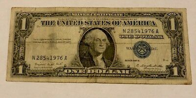 1957 A UNITED STATES SILVER CERTIFICATE $1 Blue Mark! Nice Old Dollar Bill