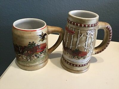 Anheuser Busch Budweiser 1980 & 1981 Christmas First 2 Holiday steins mugs MINT