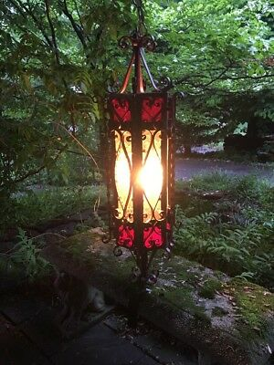 Antique Vintage  Scrolled Wrought Iron Fixture Chandelier Amber Red Glass