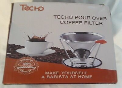 TECHO Resuable Pour Over Coffee Filters Stainless Steel Cone Drip Coffee Maker