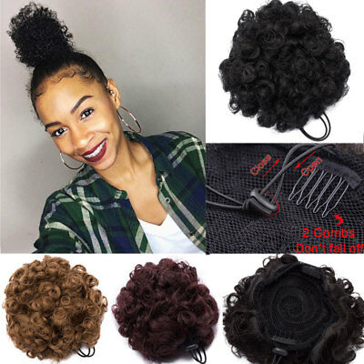 Black Brown Afro Hair Bun Kinky Puff Curly Drawstring Ponytail Hair Extension US