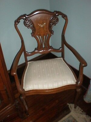 Antique Inlaid Walnut and Mother of Pearl Arm Chair Beautiful Condition
