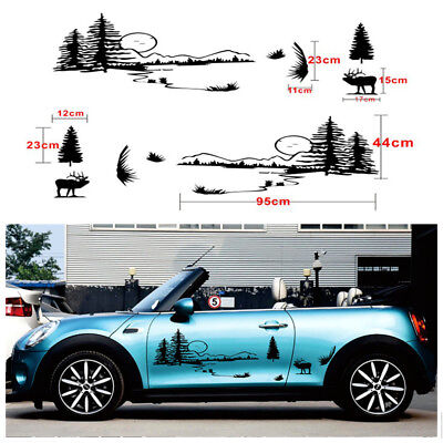 2X Hunt Forest Reindeer Graphic Car Vinyl Decal Hollow Decal Personality Sticker