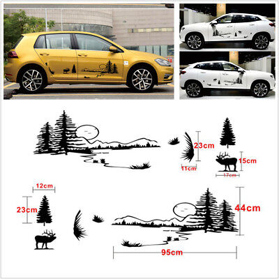 Pair Hunt Forest Reindeer Graphic Pattern Hollow Black Car Vinyl Decal Stickers