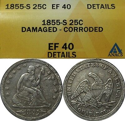 1855 S Seated Liberty Silver Quarter ANACS XF 40 Details - Key Date!