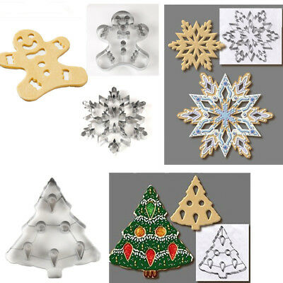 Christmas Tree snowflake Gingerbread Cookie Cutter Stainless Steel Biscuit Mold