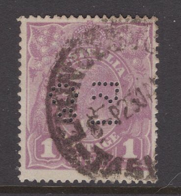 Tasmania Royal Insurance Co private perfin on 1d violet KGV see scans x 2