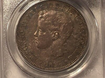 Philippines Spain 1897 Alphonso Un Peso PCGS AU 58 Toned