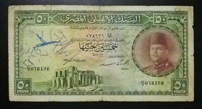 Egypt 50 Pounds P 26a Prefix EF/3 King Farouk