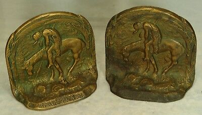 Vintage Pair of Cast Iron with Bronze Patina Bookends, Iconic Indian on Horse