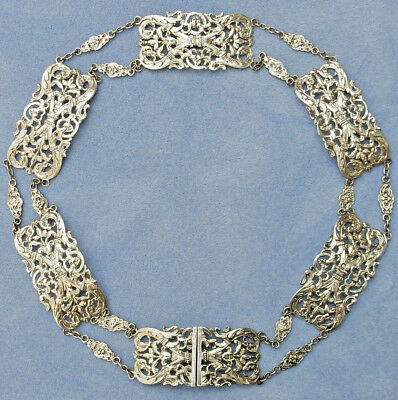 "RARE 31"" ANTIQUE 161g SOLID STERLING SILVER CHATELAINE BELT FULLY HM LONDON 1902"