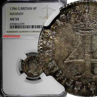 Great Britain Silver 1786 4 Pence NGC AU55 Nice Toned TOP GRADED KM# 596.1