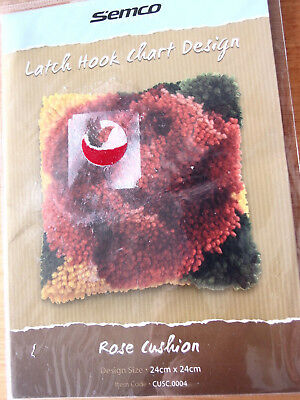 SEMCO - Latch Hook Chart Design -ROSE CUSHION  design leaflet.