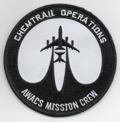 """USAF Patch 552nd AWACW, CHEMTRAIL OPS MISSION CREW - 4"""" Diameter, hook side back"""
