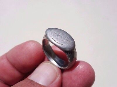 ancient late Roman ~ Byzantine silver beautiful carved ring