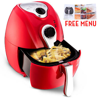 Red 1500W Electric Air Fryer Timer & Temperature Control No-Oil Healthy Less-Fat
