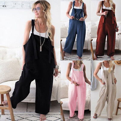 Womens Ladies Baggy Romper Sleeveless Dungarees Playsuit Overalls Cami Jumpsuit