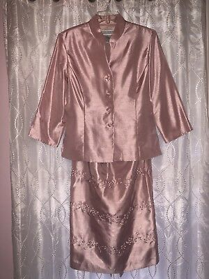 $ 189 Jessica Howard Pink Blush Mother Of The Bride 2 Pc Skirt Suit SZ 14