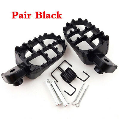 Black Pair Wide Motorcycle Foot Pegs Footrest 8mm Bolt For Honda CR CRF XR 50 70