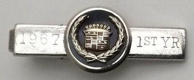 Vintage 10K White Gold Enamel Cadillac Employee Award on Anson Sterling Tie Clip