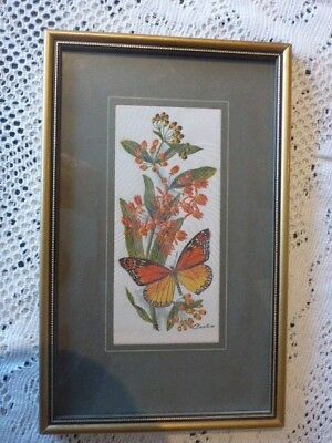 Cashs Woven Silk Picture Monarch Or Milkweed / Butterfly Weed Framed Under Glass