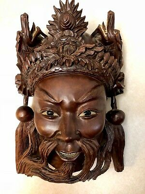 Antique/vnt 19C Chinese Rosewood Hand Carved Mask Of Imperor With The Dragons