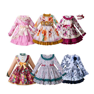 Girls Flower Princess Dress Spanish Christmas Long Sleeve Party Pageant Outfits