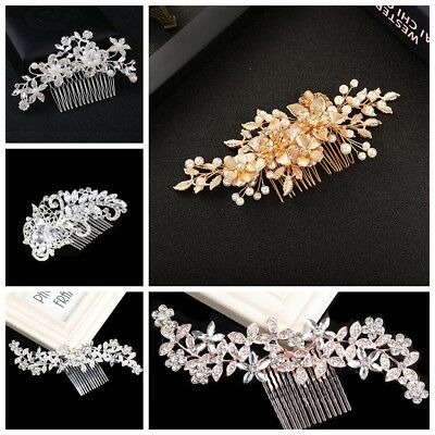Bridal Wedding Hair Comb Gold Silver Rose Crystal Diamante Pearl Hair Comb/Clip
