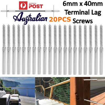 20PCS Right Hand therad Wire Rope Balustrade Kit Lag Screw Terminal Swage 3.2mm