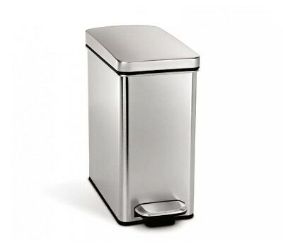 simplehuman 10 Liter/2.6 Gallon Stainless Steel Bathroom Slim Trash Can NEW