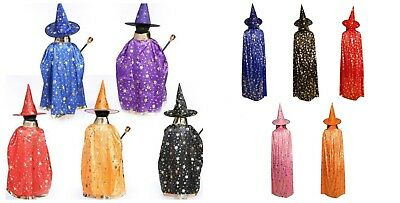 Adult Kids Halloween Costume Witch Wizard Robe Cape Cloak and Hat Party Cosplay