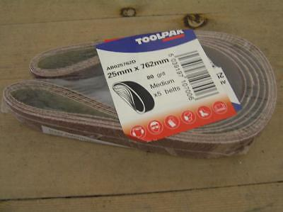 Toolpak 25mm x 762mm Sanding Belts. Pack of 5. Great price value belts