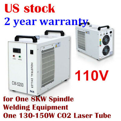 US S&A CW-5200DH Industrial Water Chiller for 130-150W CO2 Glass Laser Tube 110V