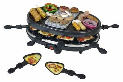 3 In 1 Raclette Pierre Chaude 8 Personnes Barbecue Nature Plaque en 900W Neuf