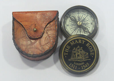 Unidecor Nautical Replica Mary Rose Brass Compass W/ Leather Case