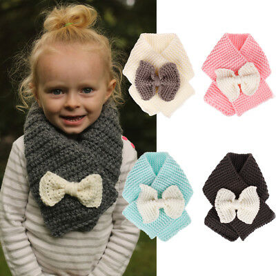US Toddler Children Knitted Soft Neck Warmer Scarf Winter Cute Fashion Gift Kids
