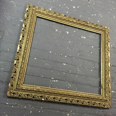 Antique Ornate Gold Gilt & Gesso Wooden Picture Frame, c Victorian, Very Large