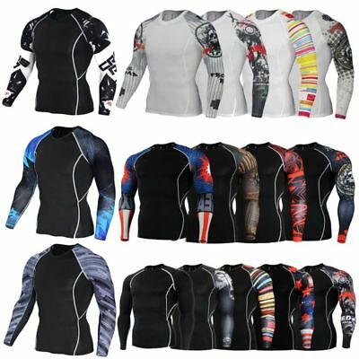 Men Gym Crossfit Long Sleeve 3D Compression Base Layer Skull Sports Fit T Shirt