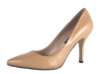 Nine West Women's NWFLAX Nature Ligna Lamb Skin Leather Pointed Toe Pumps Shoes