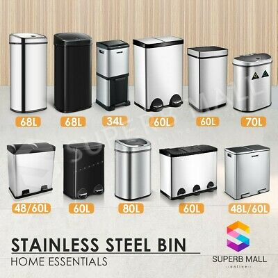 48/50/58/60/68L Stainless Steel Rubbish Bin Pedal Separated Garbage Trash Can