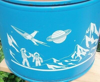 Vintage rare SPACE round large TOY BOX cardboard & steel chest 1940s outer star