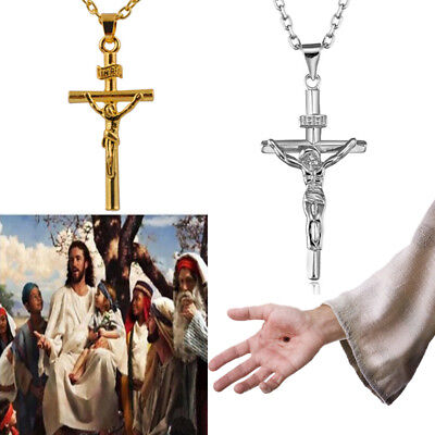 Mens Woman Jesus Cross Cuban  Stainless Chain Link Gold Silver Pendant Necklace