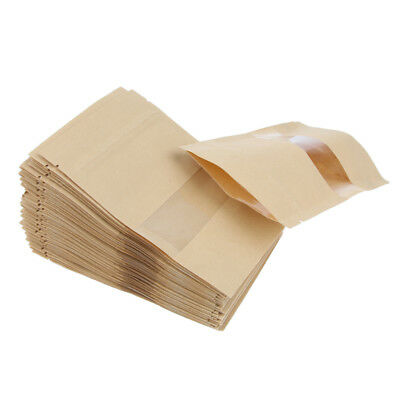 100X Kraft Paper Window Bags Stand up Pouch Dried Food Bags 10x15+3&12x20+4