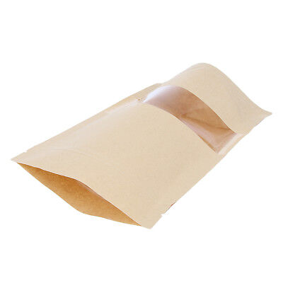 Blesiya 100X Kraft Paper Bag Stand up Pouch Dried Food Packaging Bag 14x22cm