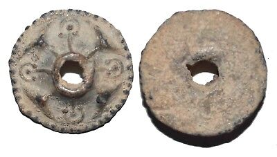 (10016) Soghdian lead charm or button.