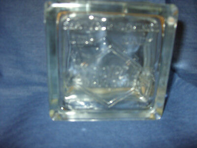 Vintage People's Drug Clear Glass Block Coin Bank - Exc. Cond
