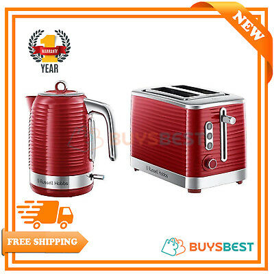 Russell Hobbs Inspire 1.7 L Electric Jug Kettle & 2 Slice Toaster Set - Red